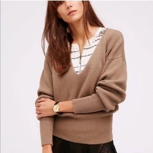 Free People Allure Tan V Neck Sweater S